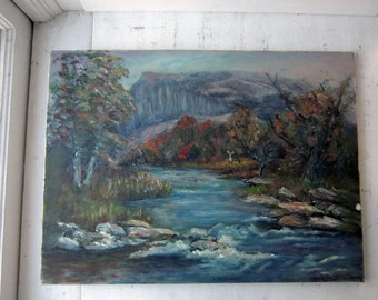 ON SALE Vintage Signed Oil Painting - Colorful Landscape 18 x 24
