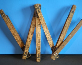 Vintage Mid Century Industrial Wood Retractable Measuring Stick