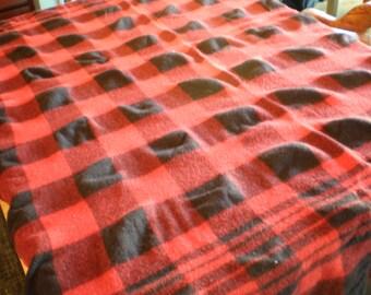 Vintage Mid Century Wool Plaid Blanket - Red And Black