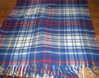 Vintage Mid Century Wool Plaid Blue Blanket - Curvon Imperial