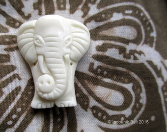 Little Ellie Elephant Carved Bone Pendant Bead 30mm Double Drilled