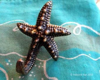 Starfish Brass Kitchen Cabinet Knob and Dish Towel Hook