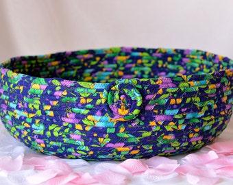 Cotton Cat Bed, Handmade Blue Floral Basket, Dog Bed, Kozy Pet Bed, Cottage Chic Fabric Basket, Blue Floral Coiled Fabric Basket