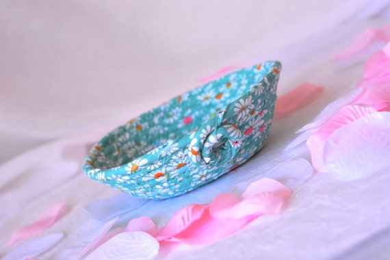 Cute Paperclip Basket, Handmade Candy Dish, Handmade Key Basket, Ring Holder Bowl, Teal Desk Accessory