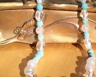 24 inch Rose Quartz Necklace Vintage Beads