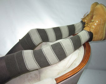 Thigh Highs Boot Socks Striped Leg Warmers Brown Tan Stripe Knit A954