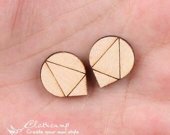 4Pcs DIY Laser Cut Wood Cute Geometric Charms / Pendants  (WP-C-45)