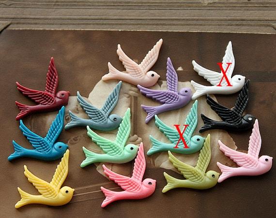 22 Pcs Wholesale Beautiful Mix Colorful vintage style  birds  Cabochon  -11colors -32x24mm(CAB-BZ-MIXSS)