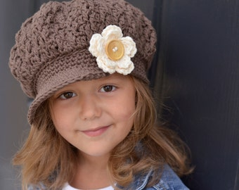 Crochet Hat for Kids, Girl's Hat, Little Girl Hat, Toddler Girl Hat, Little Girl Newsboy Cap, Crochet Hats, Brown Hat, The Buttercup Cap