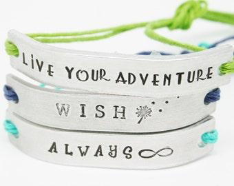 SET of 5 Friendship Bracelets Personalized Custom Hand Stamped Name Tie On Hemp Cord Bestie BFF Jewelry