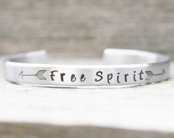 Bracelet Skinny Stacking Hand Stamped Jewelry Cuff  FREE SPIRIT Personalized Inspirational Adventure 12g Aluminum Silver Metal