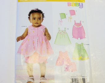 Baby Clothes Sewing Pattern New Look 6794: Babies Dress, Roompers, and Bonnet Sizes NB-L (2008) UNCUT