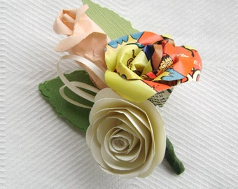 comic book paper rose boutonniere buttonhole lapel pin brooch corsage alternative recycled