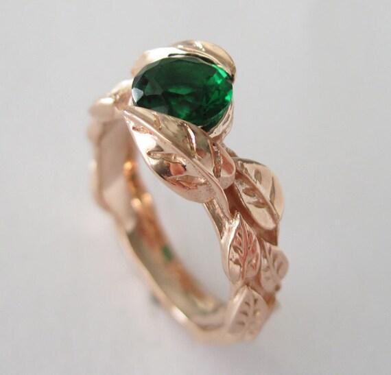 Rose Gold Leaf Engagement Ring Green Stone Leaf Engagement