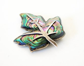 Abalone Leaf Brooch- Sterling Brooch- Taxco Silver- Mexican Silver- 925- Artist Signed- 1940s Brooch- Shell Jewelry- Mid Century Pin-