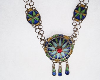 Amazigh Necklace, Vintage Berber Jewelry, Silver and Enamel Choker, Small Petite Size, Necklace from Algeria, Ethnic Jewelry