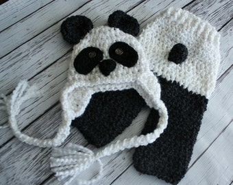 Panda Bear Costume - Baby Panda Hat and Pants - Black and White Panda Hat - Baby Panda Costume - Photo Prop -by JoJosBootique