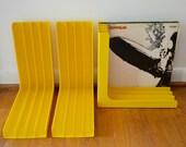 Mod Yellow Plastic Record Storage Racks