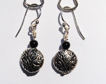 Silver Earrings with Black Onyx Accent Beads