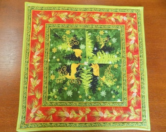 """Christmas Winter Snow Deer Table topper 17"""" square"""