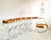 Mid-Century Gold Trimmed Pasabahce Stemware & Decanter, Turkey
