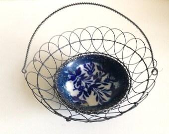 Antique Handmade Wrought Wire Basket Porcelain Bowl