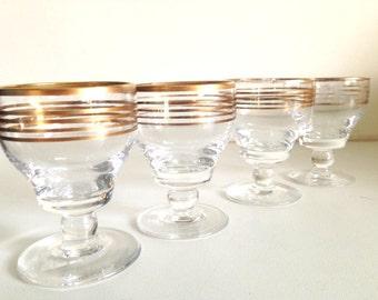 Vintage Small Set of Four Gold Rimmed Pedestal Glasses