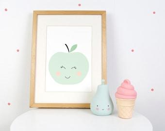Digital Print: Mint Apple
