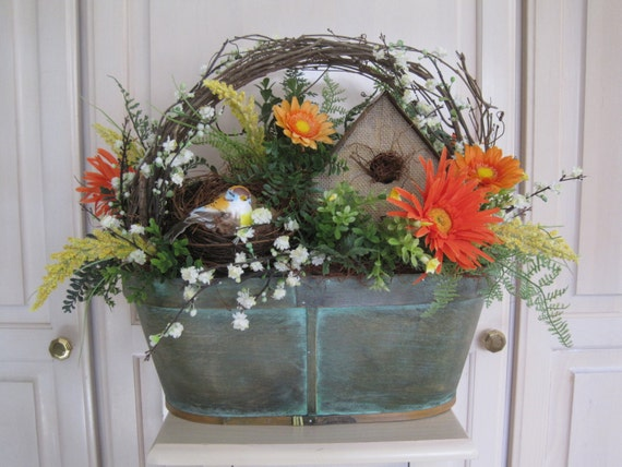 Easter tablescape centerpiece rustic spring floral by