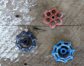 Antique Knob Faucet Set of 3 Red Blue Metal Home Improvement Decor or Craft Supply Painted