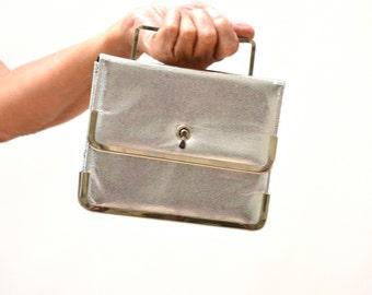 Vintage Metallic Silver Evening Bag Purse// Metallic Evening Bag Silver Foil Wedding Party Prom Clutch Bag By Delicato