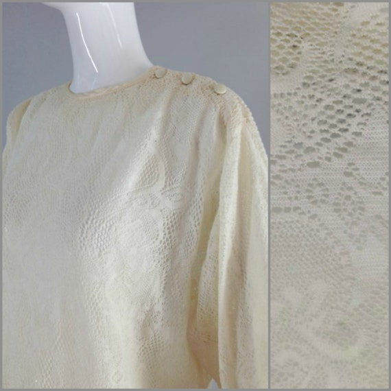 ViNtAgE 70s Lace Top Sheer Cream Doily Sheer Lace Festival Gypsy Blouse Free People Boho Shirt Coachella M L