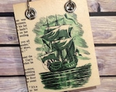Recycled Notebook - Small Refillable Notepad - Green Ship - Upcycled Children's Book