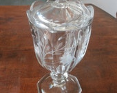 Heisey etched glass compote with cover