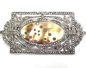 1930s Sterling Silver, Marcasite and Abalone Brooch VINTAGE Art Deco Pin - Estate Jewelry