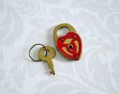 Vintage Red Heart Mini Padlock and Key  /   Vintage Miniature Valentine Love Heart Lock and Key  /  Kawaii Assemblage Supplies Charms