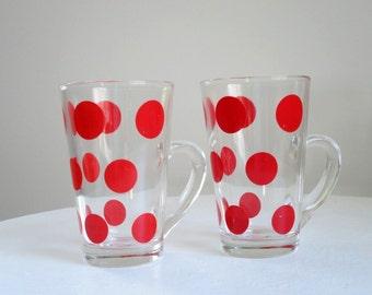 Vintage Fire King Patio Polka Dot Glass Mugs, Red Polka Dot Glass Tumblers, 1950s Fire King Glass Mugs, Retro Kitsch Kitchen Kitschen