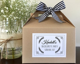 Bachelorette Weekend Survival Kit Boxes, 6 Bridesmaid Favors, Bachelorette Hangover Kit, Wedding Survival Kit, Bachelorette Party Favor