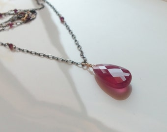 Ruby Gemstone Rose Cut Pendant Wire Wrapped with Mixed Metal Handmade Necklace
