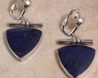 Sodalite and Sterling Silver Dangle Clip or Pierced Earrings