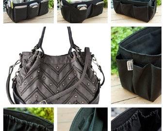 Purse Organizer Insert / Bag Organizer / Extra Sturdy  / Solid Black / Large 25x10cm