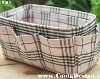 Nice Purse ORGANIZER Insert great fit for small and medium handbag Pink Plaid
