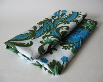 Small vintage mod floral hemmed panel dresser scarf light cotton fabric green blue regency