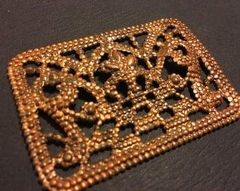 Vintage copper plated steel cut buckle conponent bracelet piece