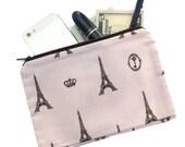 Eiffel Tower Bag - Paris themed cosmetic pouch, makeup bag, pencil bag, organizer, zippered pouch, pencil bag, clutch