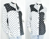 90s 80s black and white polka dot color block collared shirt blouse