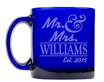Colbalt Blue Coffee Mug 13oz -9336 Mr. & Mrs. Personalized with Name and date
