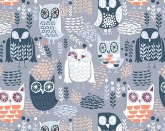 Night Owls in Grey  578 - THE BIG CHILL - Dear Stella Design Fabric - By the Yard