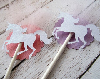 Unicorn Cupcake Toppers - Unicorn Party - Unicorn Decorations - Glitter Unicorn Toppers - Fairy Tale Party - Pastel Party Decor