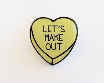 Lets Make Out - Anti Conversation Yellow Heart Pin Brooch Badge